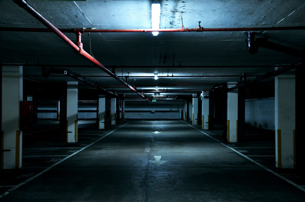 photo of empty underground parking lot